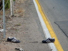 Out of Fashion (mikecogh) Tags: road lines lost shoes stripes sneakers edge runners discarded adidas seaton