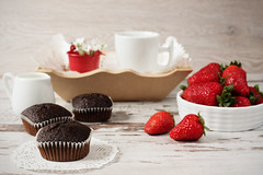 Chocolate muffins, coffee, strawberries, a vase of white flowers. Light wood rustic background (sevda.stancheva) Tags: wood flowers food brown cup kitchen coffee cake closeup breakfast dark cherry table dessert muffins wooden strawberry berry sweet chocolate dough background fat rustic tasty plate nobody fresh sugar gourmet delicious eat homemade cupcake bakery snack meal pastry muffin cocoa bake calorie confectionery unhealthy nutrition strawberris cofie