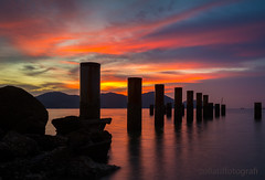 Tenacity (zollatiff) Tags: ocean sunset sea seascape reflection beach nature colors sunrise landscape pier scenery dusk jetty pangkor structures calm redsky tranquil lumut tenacity waterscape perak travelmalaysia peacefulscenery leegndfilter nikkor1024 nikond7100 zollatiffflickr