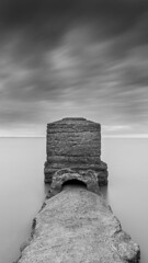 Black Tower PT3 (marcus.James) Tags: longexposure sea blackandwhite seascape monochrome grey mood sony smooth somerset minimal coastal coastline bnw hoya a6000