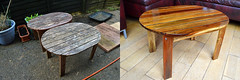 Before & After (rev-fx) Tags: wood table woodwork wooden tables restoration renovation repairs varnish
