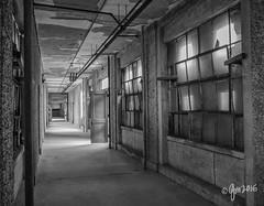 A Long Walk (gmckel50) Tags: door windows building abandoned hospital hall interior corridor urbanexploration urbex abandonedhospital