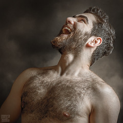 Fedaa (WF portraits) Tags: portrait hairy man male studio naked nude beard chest laugh syr