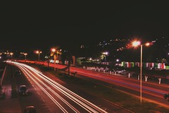"""Lo cotidiano"". (yamircuevas) Tags: street city longexposure bridge urban lightpainting méxico night painting calle ciudad urbanart lighttrails veracruz pozarica streetphotografy"