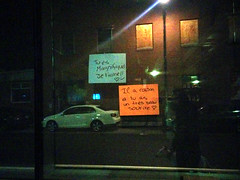 Office Romance (Exile on Ontario St) Tags: windows reflection abandoned love window smile car night work words office construction message nightshot montral heart bureau flirt drawing montreal couleurs letters romance amour covered travail flirting iloveyou kindness written messages papier sourire fentre passerby magnifique mots constructionpaper vitrine cur passant passersby bureaux passants jetaime officeromance placard coveredwindow coveredwindows