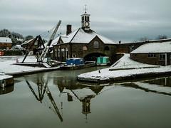 Hartshill Wharf (Eeee Bi Gum) Tags: winter england snow canal unitedkingdom crane clocktower warwickshire coventrycanal hartshill hartshillwharf