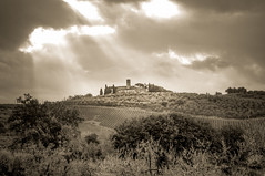 Abbey in San Gimignano (cgc76) Tags: summer bw italy abbey sepia landscape religious vineyard san gimignano sony monotone tuscany hdr agriturismo nex 2015 5t palagetto sel1670z