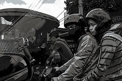 Ninja Motorbiker (jed52400) Tags: blackandwhite nikon traffic philippines commuters helmets facemask philippinejeepney motorists safetyhelmets