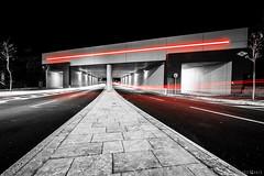 """The red Bridge"" (mirkomanzofotografo) Tags: city light shadow red urban white black cars car architecture night log long exposure led"