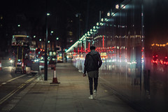 Solitary man (Andrew G Robertson) Tags: street city uk england 3 reflection london canon lens eos lowlight aperture chelsea dof bokeh iii wide streetphotography 85mm 5d mk f12 wideaperture mkiii mk3 canon85mm12 canon85mmf12 canon85mmf12ii