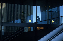 Silhouetted woman in a complex pattern of reflections from windows in an office building (Jim Corwin's PhotoStream) Tags: seattle street city windows shadow urban woman abstract building window girl silhouette horizontal female reflections dark photography lights reflecting women downtown nw shadows northwest escalator citylife officebuilding streetscene retro single thinking mysterious pacificnorthwest worker unusual contemplating individual mid80s businessandcommerce urbanscene businessdistrict everydayscene contempation stretscene marblewall
