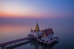 Wat Hong Thong Temple at dawn (denverandkaiju) Tags: bridge seascape water sunrise landscape thailand temple dawn golden pagoda amazing floating calm hong thong bluehour wat sao cha unseen peacefull 6d cheung samutprakarn bangpu