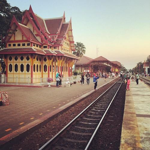 Hua Hin train station. #trainstation #thailand #huahin #sunset