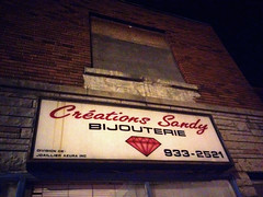 Abandoned Jewelry (Exile on Ontario St) Tags: old abandoned sign marquee store commerce montral montreal sandy jewelry bijoux bijou jewellery business jewels signe jewel affiche crations enseigne jeweler abandonn azura jewelers bijouterie griffintown joaillier