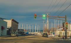 U.S. Route 61 and Lake Pepin in Lake City, Minnesota (Tony Webster) Tags: winter usa minnesota boats harbor us unitedstates lakeshoredrive stoplight lakecity trafficsignal lakepepin us61 route61 southlakeshoredrive usroute61 eastmarionstreet