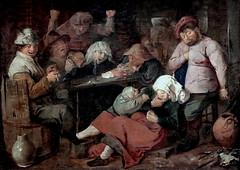 IMG_9760F Adriaen Brouwer. 1605-1638. Anvers et Amsterdam.    Beuverie de paysans.  Inn with drunken peasants. vers 1625. La Haye (Den Haag) Mauritshuis (jean louis mazieres) Tags: museum painting muse netherland museo paysbas peintures peintres adriaenbrouwer