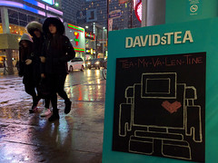 hearts beat as one (Ian Muttoo) Tags: street sculpture snow toronto ontario canada reflection art wet reflections concrete gimp sidewalk snowing valentinesday yongest lovebot davidstea 20160128173614edit teamyvalentine