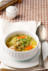 chicken soup with barley groat (Zoryanchik) Tags: food white hot green chicken barley dinner lunch cuisine soup healthy dish traditional plate spoon bowl vegetable fresh meat delicious meal carrot diet broth groat