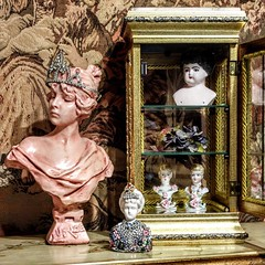 Small Collection of Busts (YourCastlesDecor) Tags: china pink roses bisque porcelain rhinestones busts crowns
