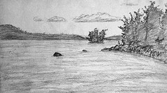 Soft (ETt_) Tags: trees lake water rock clouds forest ink landscape sketch soft drawing stones horizon paysage