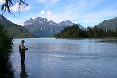 Fisherman on Crescent River (LakeClarkNPS) Tags: mountains alaska river fishing fisherman angler crescentlake lakeclarknationalpark chigmitmountains crescentriver