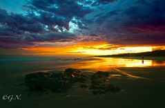 PS_GAN1027 (natural i images) Tags: ocean sunset sea people sun storm colour beach clouds landscape australia nsw hastingpoint