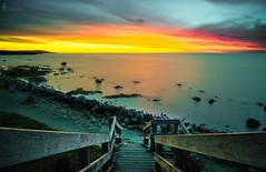 Stairway to Heaven (Laws Photography | www.lawsphotography.com) Tags: ocean longexposure sunset seascape beach water beautiful clouds stairs canon landscape twilight rocks colorful outdoor shoreline le glowing mornington fullframe morningtonpeninsula ndfilter neutraldensityfilter leadingout longshutterexposure longexposuresunset canon6d longexposurecolour nd10stop melbournelongexposure lawsphotography vaughanlaws
