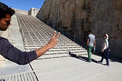 Unexpected effect  ~ I love stranger. (Go Go Janet) Tags: great entrance stairway unesco worldheritage perspolis notbad historicalarchitecture unexpectedeffect photobomb