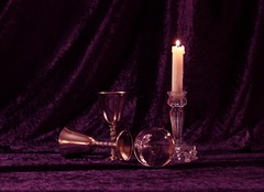 Still Life 1 (Sybalan,) Tags: light stilllife colour canon silver ball mono scotland candle purple crystal flash velvet indoors flame setup practice goblet httpsybalanphotographyweeblycom