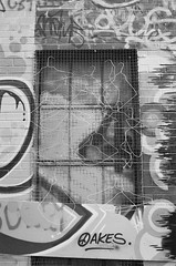Hangin' On (Georgie_grrl) Tags: blackandwhite streetart toronto ontario window monochrome graffiti screen pentaxk1000 hanging tagging hangers oakes graffitialley ilford400asa rikenon12828mm