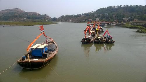 Day 1 : Coastal Ride- Colorful boats during Holi celebrations in West coast of India.
