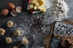 Staged Baking Set (Alex Leat) Tags: food flower cakes cookies up set work baking university chocolate great chips butter eggs setup uni slate fam flour staged huddersfield