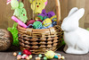 Easter Basket and Decor (Transient Eternal) Tags: pink blue decorations orange holiday rabbit bunny bunnies grass yellow easter spring basket candy background sugar celebration eggs sweets woven decorate decorated hardboiled holyweek gettogetherchildren