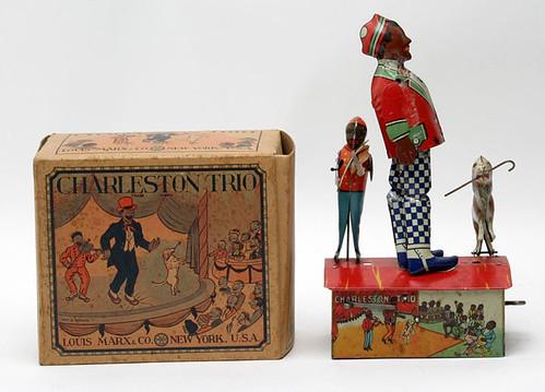 "Louis Marx ""Charleston Trio"" Wind-Up Tin Toy w/ Box - $467.50"