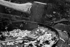 290/365 camping (sullivanj487) Tags: camping blackandwhite white black monochrome breakfast nikon monochromatic castiron axe eggs 365 d5000