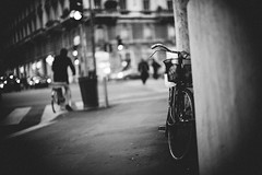 The smell of night air (Sator Arepo) Tags: leica urban italy milan bicycle electric night 50mm lights europe shadows bokeh milano mysterious parked noctilux m9 leicam9