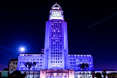 Los Angeles City Hall Prince Tribute (Mayor of Los Angeles) Tags: city hall los peace purple angeles rip prince rest