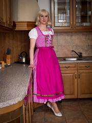 Long pink dirndl (blackietv) Tags: pink kitchen dress crossdressing tgirl apron transgender transvestite checkered crossdresser dirndl