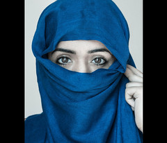Muslim Girl (JiaQureshiWeb) Tags: blue portrait girl canon photography 50mm eyes nikon photos muslim islam hijab honor modesty nikkor samples 18d 18g
