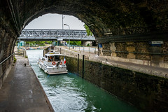 Basin de l'Arsenal Lock (Serendigity) Tags: city paris france water boats harbour lock archway