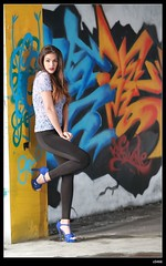 nEO_IMG_DP1U1585 (c0466art) Tags: light portrait water girl beautiful wall canon pose painting island nice colorful long pretty pants action body gorgeous country ruin line figure marta lovely charming tight elegant curve sao reflectiom tome antunes 1dx c0466art