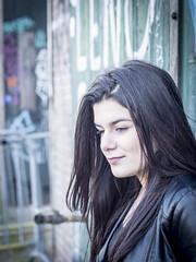 Nathalie, Amsterdam 2016: Pensive beauty (mdiepraam (35 mln views)) Tags: portrait girl beautiful dutch amsterdam graffiti pretty nathalie brunette elegant leatherjacket roest 2016 oostenburg naturalglamour
