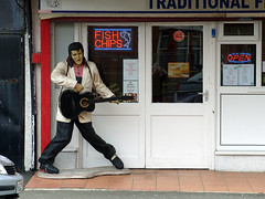 Cod 'n' chips.  Thang' you very much!  (Explored 19/04/2016) (Marty's White Suit) Tags: uk seaside cafe elvis diner british rhyl quirky northwales denbighshire