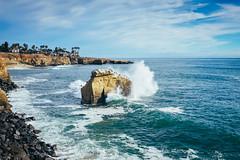 Waves crash at Sunset Cliffs (bradleysiefert) Tags: ocean california trip travel cliff rock coast us unitedstates sandiego sunsetcliffs 2015 summerjourneys