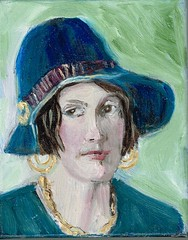 WV Woman from long ago (kevin63) Tags: 1920s woman hat painting canvas oil earrings spencer lightner bobbedhair