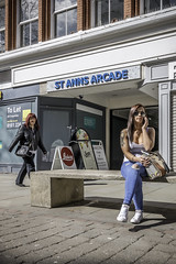 Sign of Summer (tootdood) Tags: summer people sign mobile manchester sitting phone cell sit sat seated fromthehip stannssquare canon70d