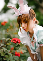 (I C E I N N) Tags: blue trees roses portrait people white rabbit girl hat leaves garden asian 50mm blurry moody dof dress photoshoot bokeh outdoor empty sony ears fringe lolita e fe melancholy   speedmaster gaze creamy f095  zhongyi mitakon   sonya7ii ilce7m2