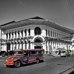 The Eye Referral building in downtown Tacloban, Leyte - the Philippines (40emem) Tags: road street old city travel white black color colour building eye art heritage tourism architecture fun lumix flickr jeep philippines sunday olympus snap f25 jeepney ep3 referral leyte m43 tacloban 14mm waray mft