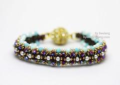 Viera (BeeJang - Piratchada) Tags: pink blue iris red white aqua crystal handmade turquoise jewelry bracelet pearl bangle swarovski miyuki siam beading beaded beadwork beadweaving