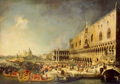 Canaletto - The Hermitage Museum -175. Reception of the French Ambassador in Venice (c. 1726-1727) (lack of imagination) Tags: people buildings boats blog cityscape gondolas hermitagemuseum 10001500